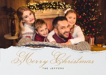 Merry Christmas Greeting Family with Kids by Fir Tree