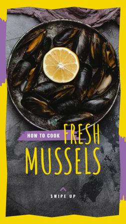 Template di design Fresh Mussels Ad with slice of Lemon Instagram Story