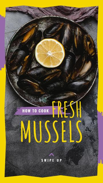 Fresh Mussels Ad with slice of Lemon Instagram Story Design Template