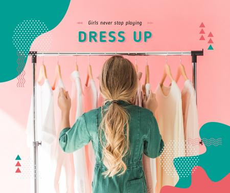 Plantilla de diseño de Girl Choosing Clothes on Hangers Facebook