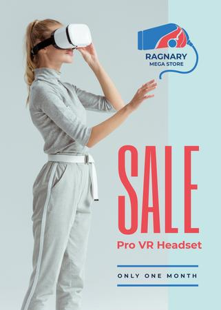 Plantilla de diseño de Gadgets Sale Woman Using VR Glasses Flayer