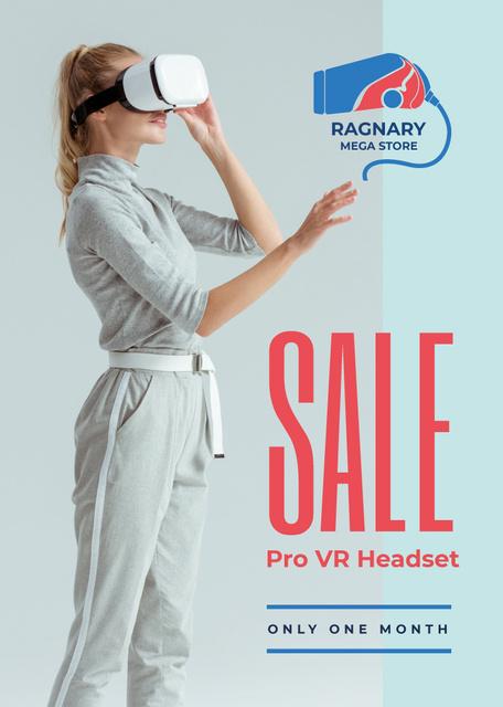 Modèle de visuel Gadgets Sale Woman Using VR Glasses - Flayer