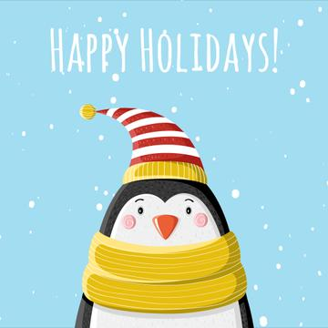 Cute winter penguin in hat