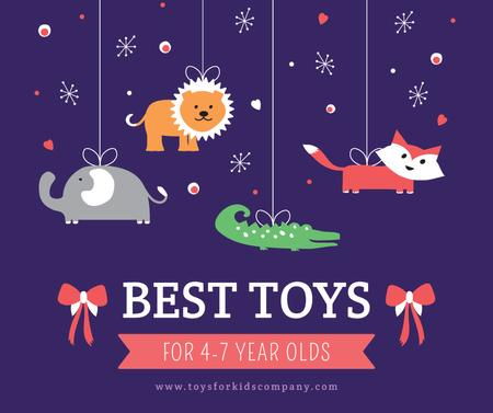 Kids store ad with animals Toys Facebookデザインテンプレート