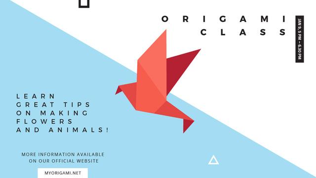Origami Classes Invitation Paper Bird in Red Title – шаблон для дизайна
