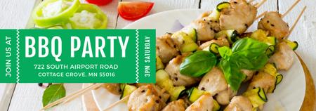 Template di design BBQ Party Grilled Chicken on Skewers Tumblr