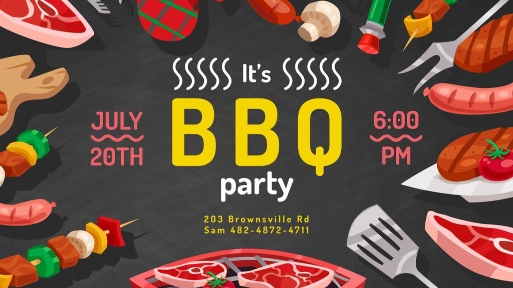 Ontwerpsjabloon van FB event cover van BBQ Party invitation delicious Grilled Food