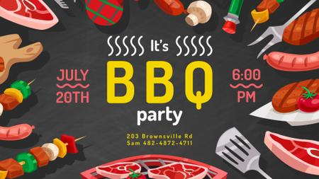 Template di design BBQ Party invitation delicious Grilled Food FB event cover