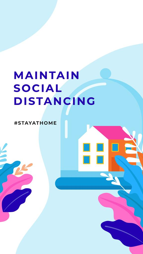 #StayAtHome Social Distancing concept with Home under Dome — Créer un visuel