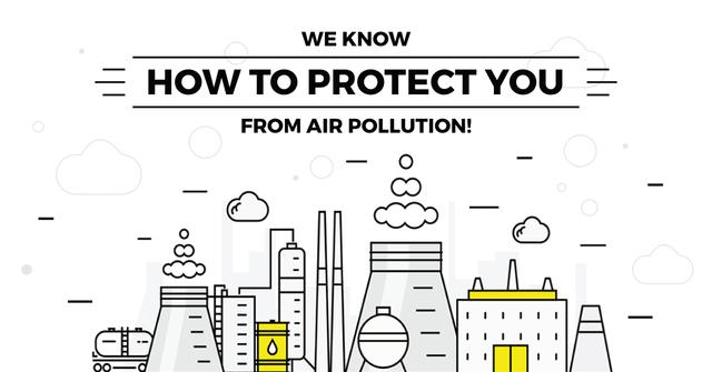 Air pollution concept Facebook AD Tasarım Şablonu
