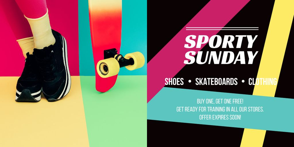 Sports Equipment Ad with Girl by Bright Skateboard Image Design Template