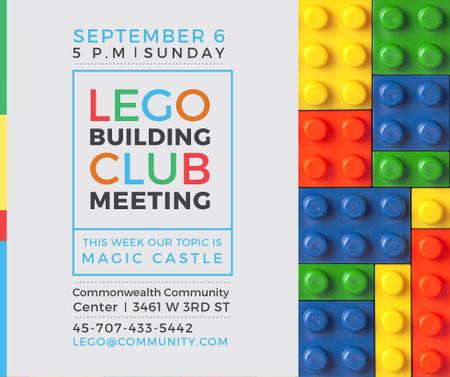 Plantilla de diseño de Lego Building Club meeting Constructor Bricks Facebook