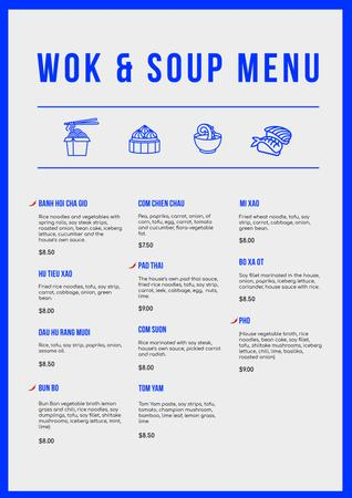 Template di design Wok and Soup dishes Menu