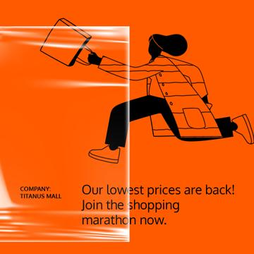 Online Store Sale ad Woman running with Phone