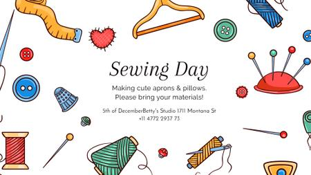 Designvorlage Sewing day event with needlework tools für FB event cover
