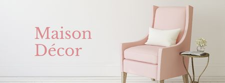 Plantilla de diseño de Furniture Store ad with Armchair in pink Facebook cover