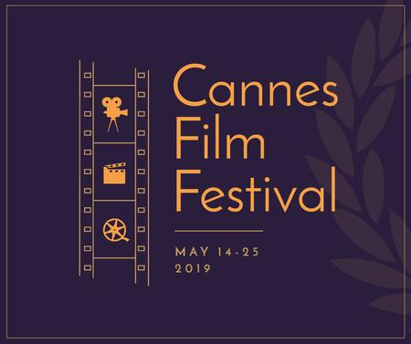 Template di design Cannes Film Festival filmstrip Facebook