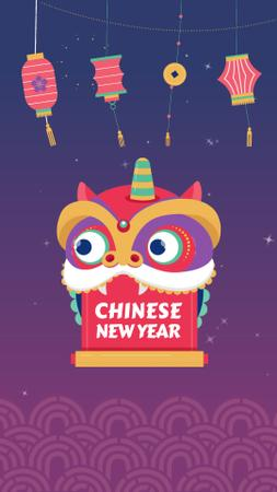 Chinese New Year Dragon Greeting Instagram Video Story Modelo de Design