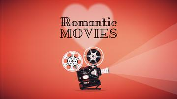 Vintage film projector with romantic movie