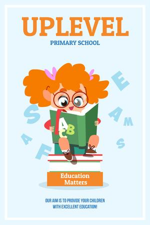 Primary school advertisement with Girl reading Pinterest Design Template