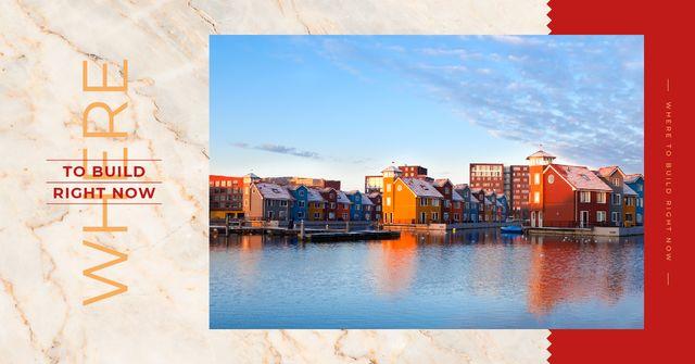 Modèle de visuel Houses at sea coastline - Facebook AD