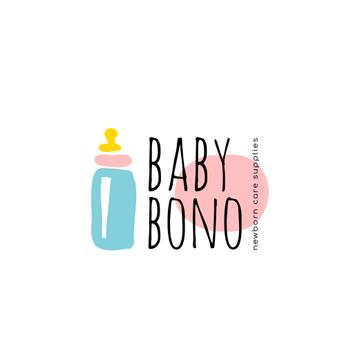 Kids' Products Ad with Baby Bottle Icon