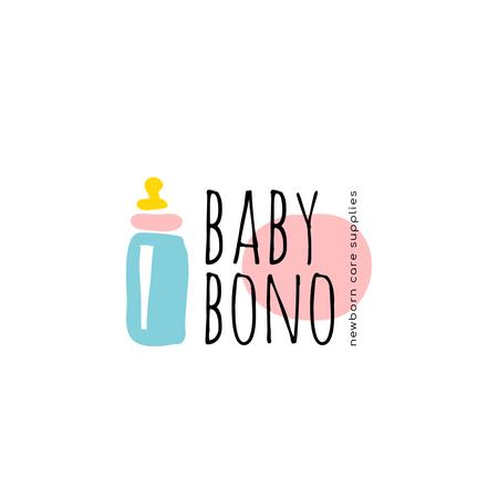 Designvorlage Kids' Products Ad with Baby Bottle Icon für Logo