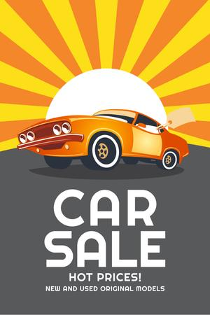 Car Sale Advertisement with Muscle Car in Orange Pinterestデザインテンプレート