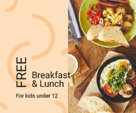 Restaurant Offer Delicious Breakfast Meal Medium Rectangle Design Template
