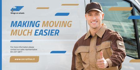 Ontwerpsjabloon van Image van Delivery Service Worker Showing Thumb Up