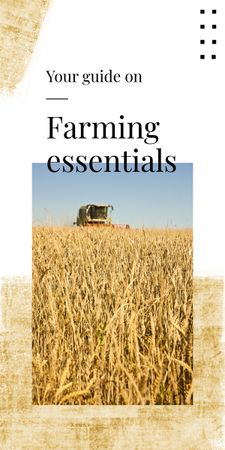 Plantilla de diseño de Farming Essentials with Harvester working in field Graphic