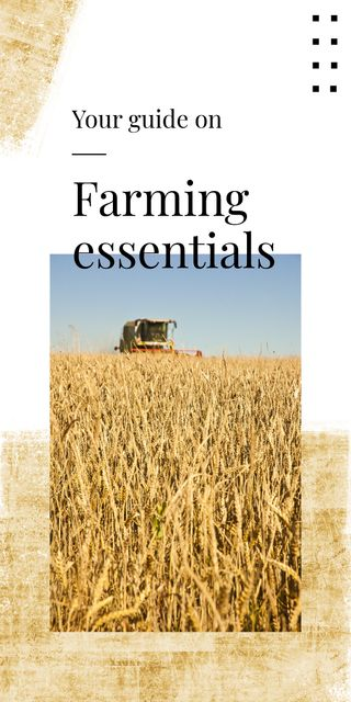 Farming Essentials with Harvester working in field Graphic Modelo de Design