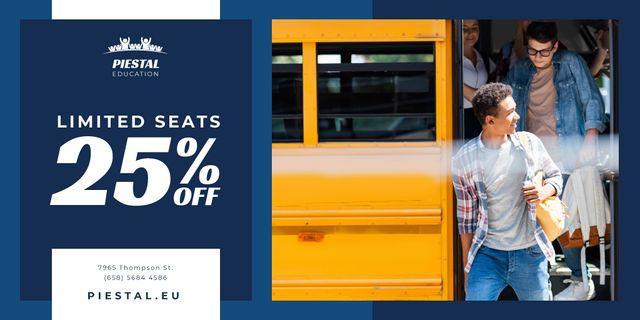 Plantilla de diseño de School Promotion with Kids by Yellow Bus Twitter