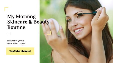 Plantilla de diseño de Beauty Blog Ad Woman applying Mascara Title