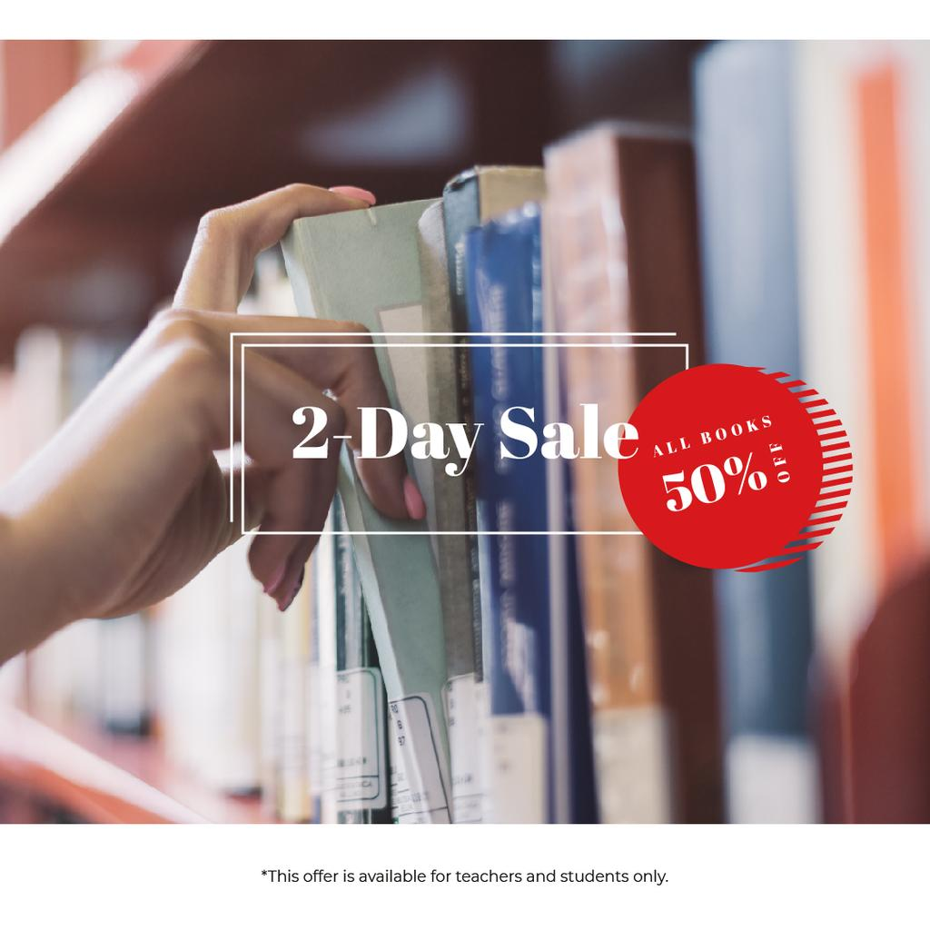 Bookshop Offer Woman Choosing Book on Shelf | Instagram Ad Template — Створити дизайн