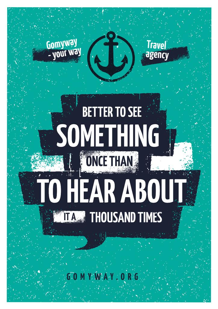 Travel Quote with Anchor Icon Poster – шаблон для дизайну