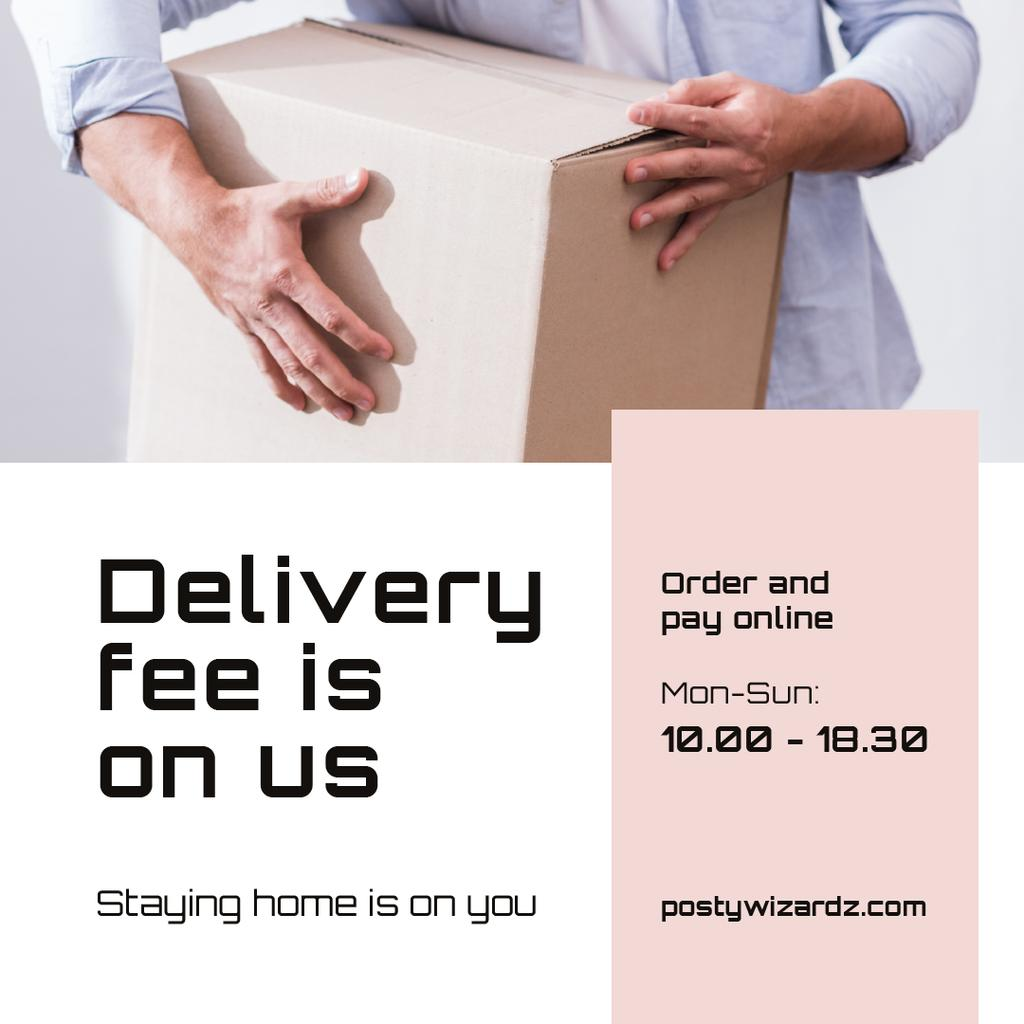 Delivery Services Ad with Courier holding box — Modelo de projeto