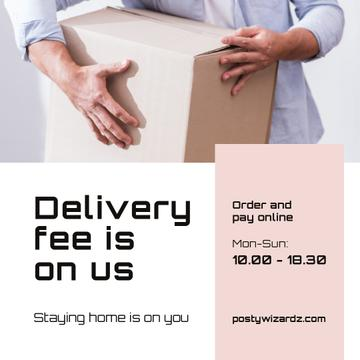 Delivery Services Ad with Courier holding box