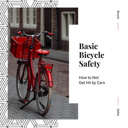 Red bicycle on street Instagram – шаблон для дизайну