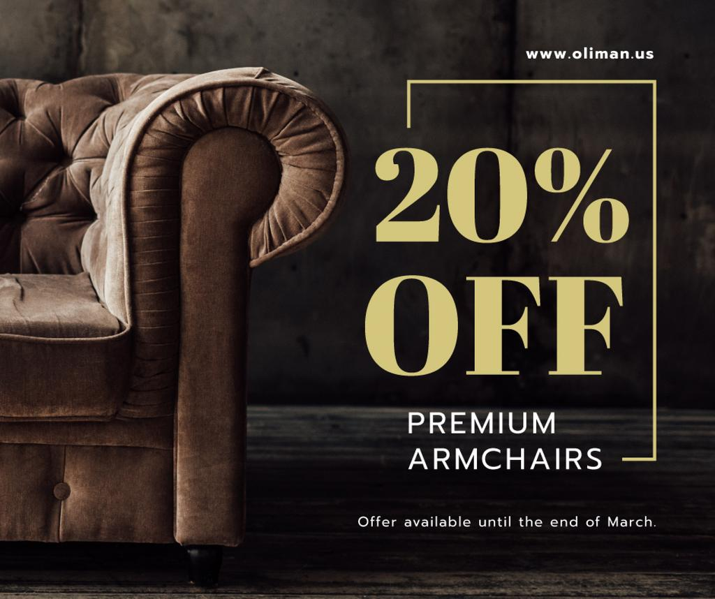 Furniture Store Sale Luxury Armchair in Brown — Maak een ontwerp