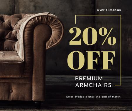 Plantilla de diseño de Furniture Store Sale Luxury Armchair in Brown Facebook