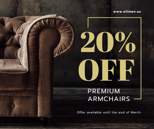 Furniture Store Sale Luxury Armchair in Brown Facebook Tasarım Şablonu