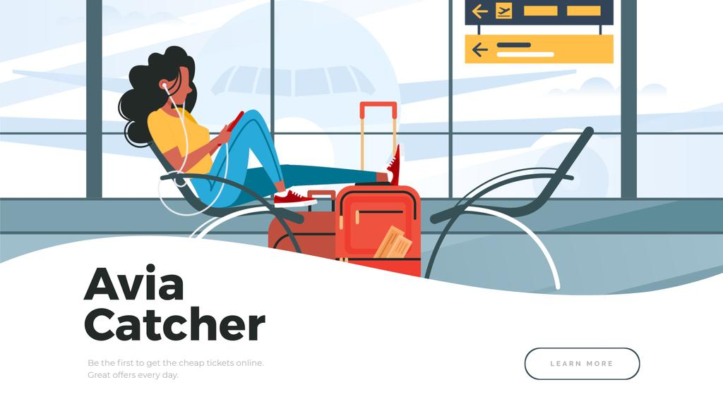 Woman listening to music in airport — Crear un diseño