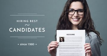 Hiring best candidates with Woman holding resume