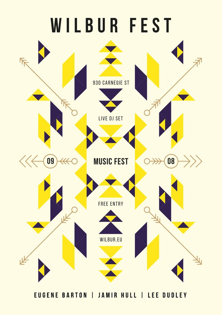 Music Fest Announcement with Geometric Ethnic Pattern — Створити дизайн