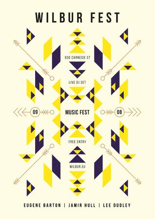 Music Fest Announcement with Geometric Ethnic Pattern Poster Modelo de Design