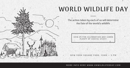 World wildlife day with Environment illustration Facebook AD Modelo de Design