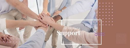 Modèle de visuel Teamwork Quote with People Stacking Hands - Facebook cover