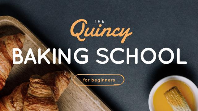 Plantilla de diseño de Baking School Ad Fresh Hot Croissants Youtube Thumbnail