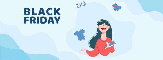 Ontwerpsjabloon van Facebook Video cover van Woman juggling clothes on Black Friday